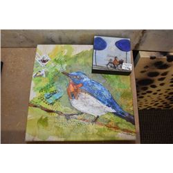 """Two small pieces of decor wall art including bird picture and small """"Free Wheeling"""" print"""