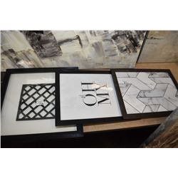 Three small framed decor pictures