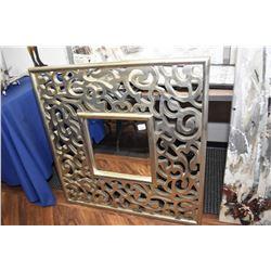 """Large fret work framed bevelled mirror, 36"""" square"""