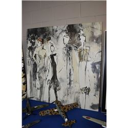"""Stretched decor print featuring multiple figures, 47"""" square"""