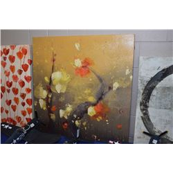 """Stretched canvas floral print, 36"""" X 36"""""""