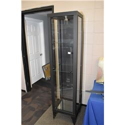 """Pillar style illuminated display cabinet with adjustable glass shelves and single drawer, 74"""" in hei"""