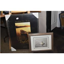 """New 22"""" X 28"""" picture frame and a framed print"""
