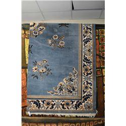 """Blue and floral Oriental motif area carpet 96"""" X 124"""""""