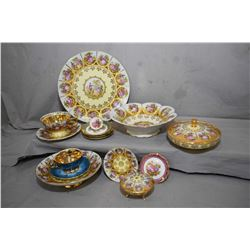 Selection of Royal Vienna style china including small comport, lidded dish, cake plate, fluted dish,