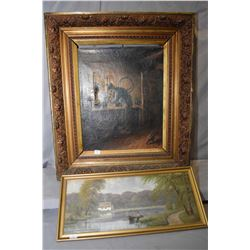 """Vintage guild framed oil on canvas small lake scene with fisher signed by artist """"GH 99"""" 8"""" x 20"""" an"""