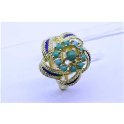 Ladies vintage 18kt yellow gold, enamel and gemstone ring. Retail replacement value $1,000.00
