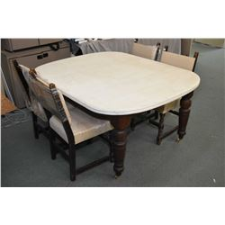 Antique dining table with painted top and bulbous legs plus four dining chairs with upholstered seat