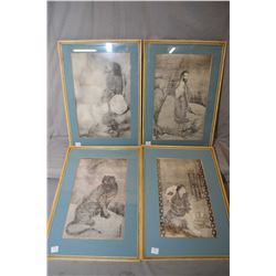 Four antique framed Oriental etched prints, note one picture sans glass