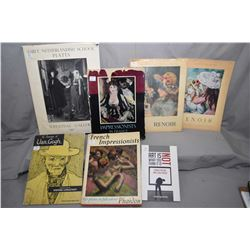 Selection of vintage art reference guides including French Impressionists, The drawings of Van Gogh,