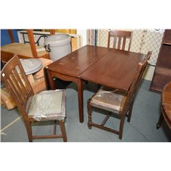 Three oak slat back dining chairs including matched pair and one with barley twist supports plus a d