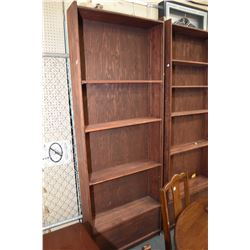 Pair of shop made open shelving units with adjustable brackets