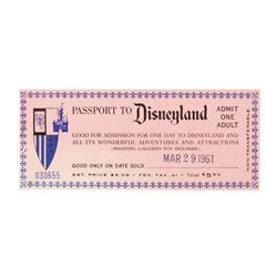 """Passport to Disneyland"" Admission Ticket."