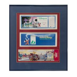 Pair of Framed Disney Park Commemorative Passports.