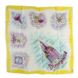 Disneyland Small Silk Scarf with Yellow Border.