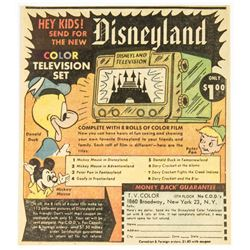 "1955 ""Disneyland Color Television Set"" & Advertisement."