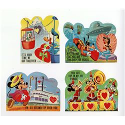 Set of (4) Disneyland Attraction Valentine's Day Cards.