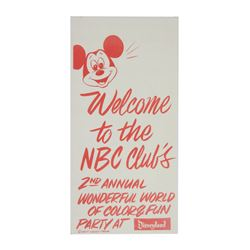 NBC Club's Disneyland Party Brochure with Map.