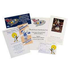 Set of (6) Donald Duck's Birthday Promotional Items.