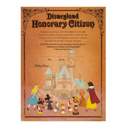 """Disneyland Honorary Citizen"" Certificate."