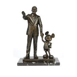 "Walt Disney & Mickey Mouse ""Partners"" Bronze Sculpture."