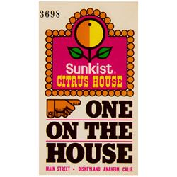 """Sunkist Citrus House"" Redemption Ticket."