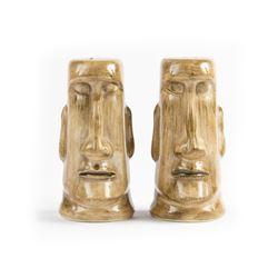 Pair of Adventureland Moa Tiki Salt & Pepper Shakers.