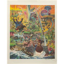 """Charles Boyer """"Splash Mountain"""" Signed Lithograph."""