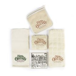 Set of (3) New Orleans Square Dish Towels & Tile.