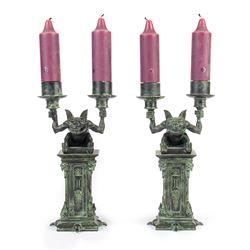 "Pair of ""Haunted Mansion"" Gargoyle Candle-Holders."