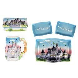 Set of (5) Fantasyland Castle Ceramic Souvenirs.
