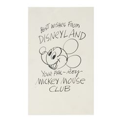 Roy Williams Pre-Printed Mickey Mouse Sketch.