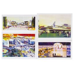 Collection of (4) Tomorrowland Concept Art Prints.