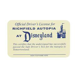"""Richfield """"Autopia"""" Unused Driver's License."""
