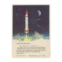 """Rocket to the Moon"" Lunar Flight Certificate."