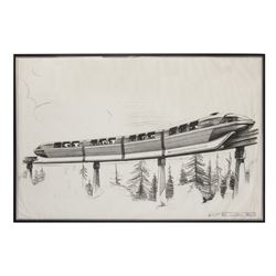 "Disneyland ""Monorail"" Xeroxed Print Signed by Bob Gurr."