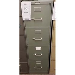"""GREEN VERTICAL 4 DRAWER FILE CABINET """"STEEL CASE""""/LOCKABLE WITH KEY"""