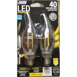 LED DIMMABLE CHANDELIER CLEAR TIP FLAME BULBS/$12.99