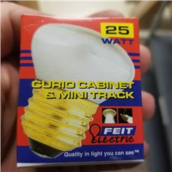 25 WATT CURIO CABINET AND TRACK BULBS