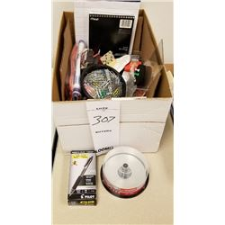 LOT OF MISC BOX OF PENS/CD/PAPER/INK STAMPS/PAPER CLIPS, ETC.