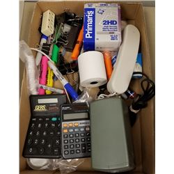 BOX LOT OF MISC CALCULATORS, ELECTRIC PENCIL SHARPENER/MARKERS AND CLIPS, ETC