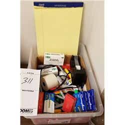 LOT BOX OF MISC STAPLERS, MARKERS, TAPE DISPENSERS, LEGAL PADS, ETC