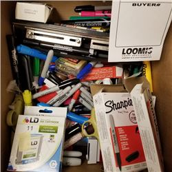 LOT OF MISC BOX OF ITEMS, HOLE PUNCH, MARKERS, INK STAMPS, TAPE, ETC