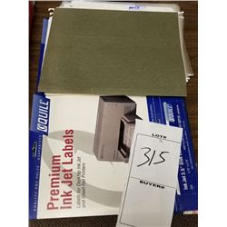LOT OF APPROX 39PC OF CLEAR 3 HOLE ALBUM SLEEVES, PREMIUM INK JET LABEL STOCK