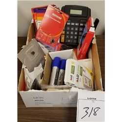 LOT BOX OF MISC ITEMS/CALCULATOR/MARKERS/INK CARTRIDGE