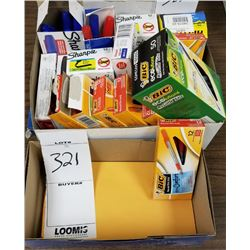 LOT BOX OF APPROX 19 MISC ITEMS/MARKERS/ENVELOPS/ADDRESS LABELS