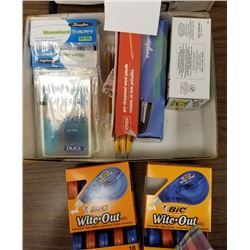 LOT BOX OF APPROX 13 MISC ITEMS/WITE OUT/STAPLES/STAPLERS/CD PAC RELEASE TABS/ROLADEX/CARD BOX