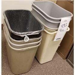 LOT OF 8 PLASTIC TRASH BINS