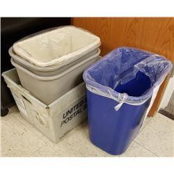 LOT OF 5PC/ 4 PLASTIC TRASH BINS/1 SQUARE LETTER BOX