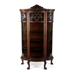 Bowfront Leaded Oak Cabinet